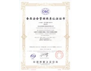 欣奇典2018年ISO22000证书-中